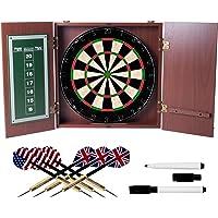 TG Realistic Mahogany Finish Dartboard Cabinet Set