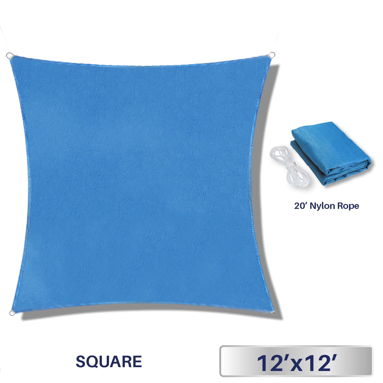 Windscreen4less 12' x 12' Sun Shade Sail UV Block Fabric Canopy in Sky Blue Square for Patio Garden Customized Sizes Available 3 Year Limited Warranty