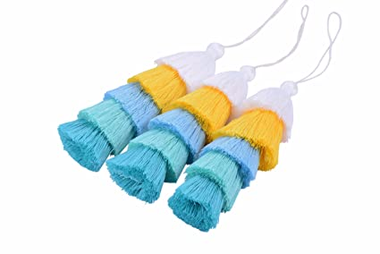 Black KONMAY 20pcs Two Color Tones Cotton Tassels with Loop for Crafting and Jewelry Making