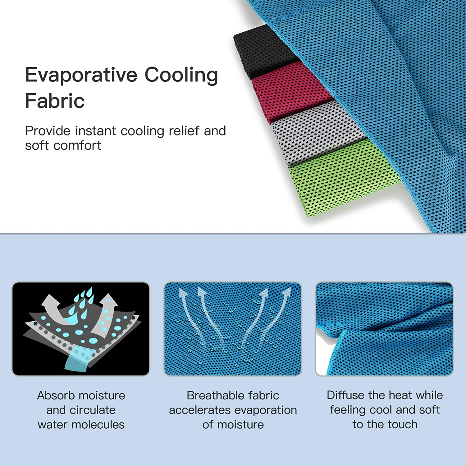 Sports Gym Outdoor 31X12 Workout Sihea Cooling Towel for Instant Relief Instant Cooling Towel Soft Breathable UPF 50+ Lightweight Absorbent Sport Towel for Yoga