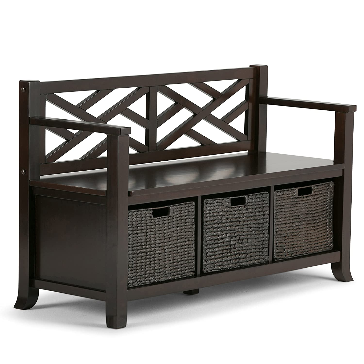 Amazon.com: Simpli Home Adrien Entryway Storage Bench, Espresso Brown:  Kitchen U0026 Dining