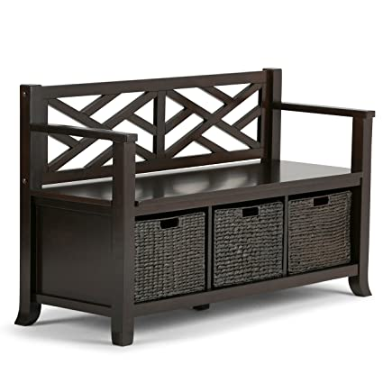 Simpli Home Adrien Solid Wood Entryway Storage Bench, Espresso Brown