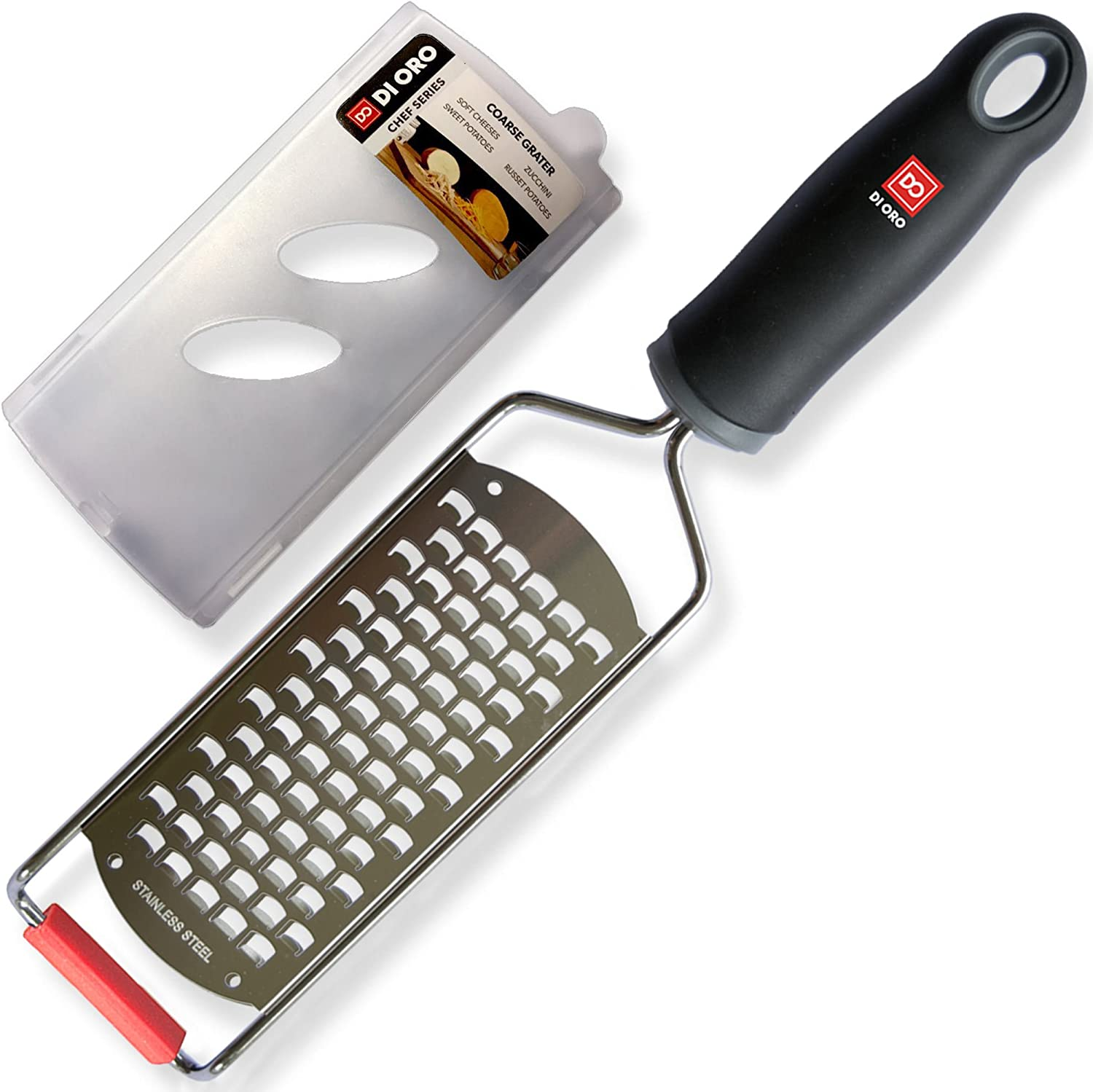Di Oro Stainless Steel Handheld Cheese Grater – Comfort Non-Slip Handle and Razor Sharp Blades – Easily Grates All Types of Cheeses, Fruits, Vegetables, and More – Dishwasher Safe Easy to Clean