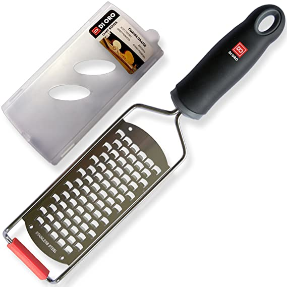 Di Oro Stainless Steel Handheld Cheese Grater – Comfort Non-Slip Handle and Razor Sharp Blades – Easily Grates All Types of Cheeses, Fruits, ...