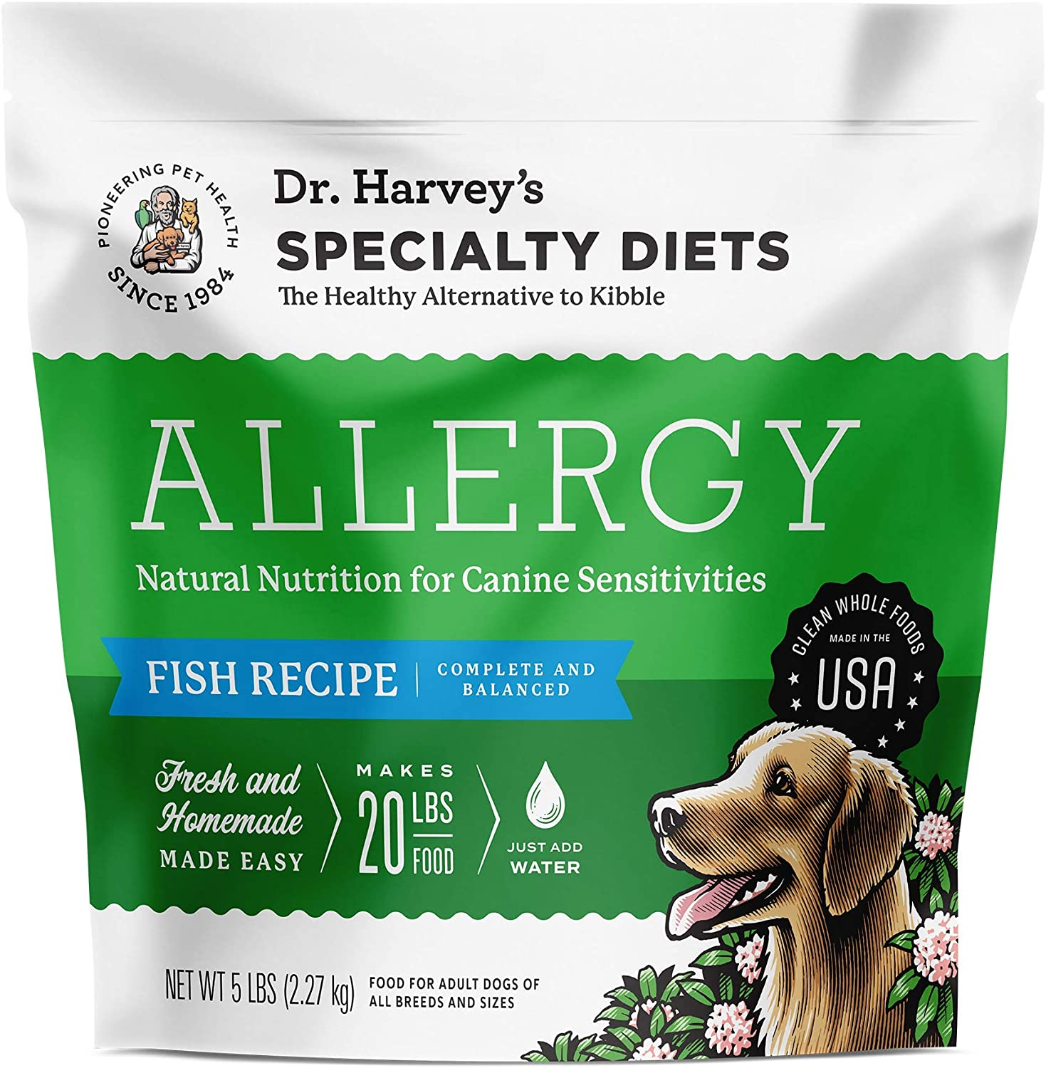 Dr. Harvey's Specialty Diet Allergy Fish Recipe, Human Grade Dog Food for Dogs with Sensitivities and Allergies (5 Pounds)