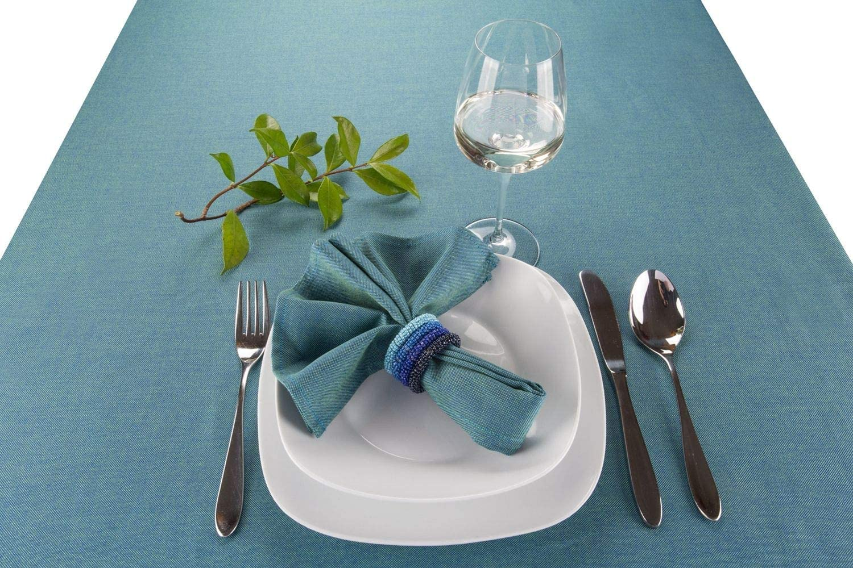 Set of 4 pieces LegendArte Napkin ring Beaded Blue Tonal