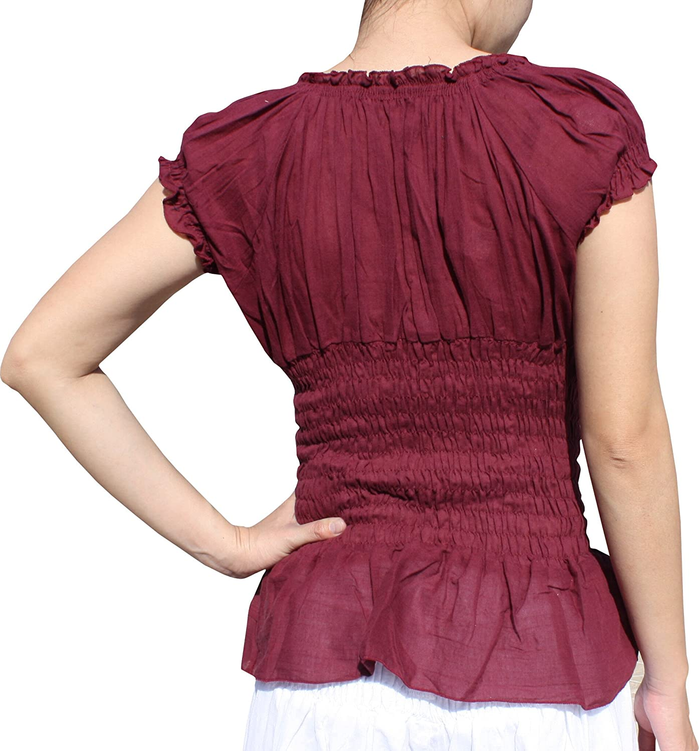 RaanPahMuang Ladies Baby Doll Serving Shirt with Smock Waist and Laced Collar Burgundy Red X-Large