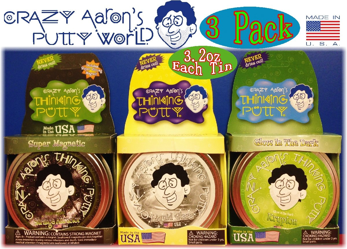Crazy Aaron's Thinking Putty Strange Attractor, Liquid Glass & Krypton Bundle Gift Set - 3 Pack by Crazy Aaron's (Image #2)