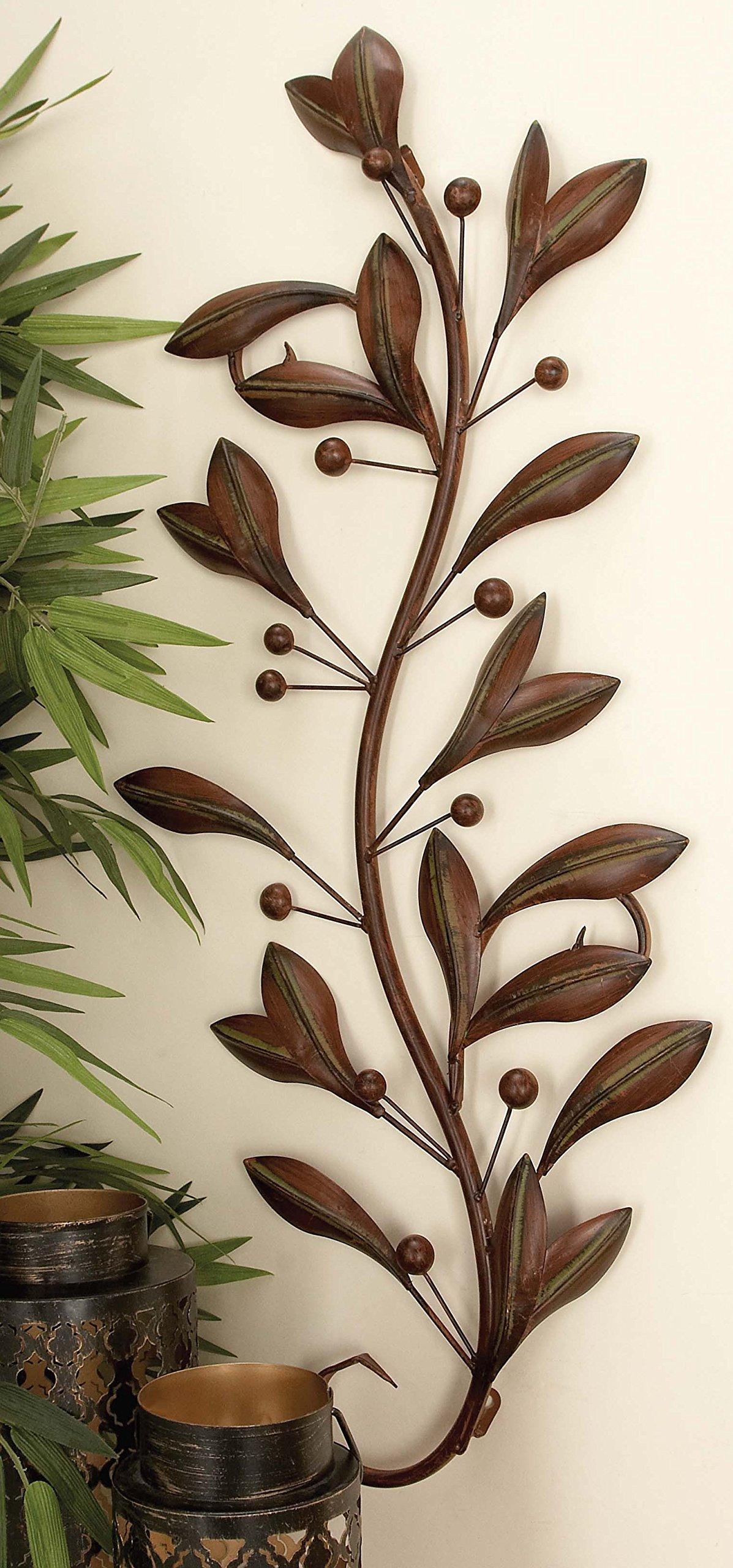 Deco 79 63048 Loft Nature Metal Leaf Wall Decor, 14 by 36-Inch, Antique Brown/Black, Sold in Pairs by Deco 79