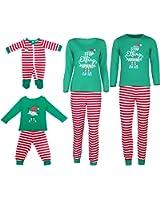 VIEWIM Stop Elfing Around Letter Print Striped Christmas Family Pajamas Sets Sleepwear
