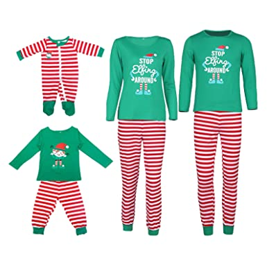 VIEWIM STOP Elfing AROUND Letter Print Striped Christmas Family Pajamas Sets Sleepwear,Mens Green Top