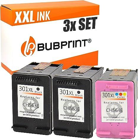 bubprint Cartuchos de impresora compatible para HP 301XL - 3 Set ...