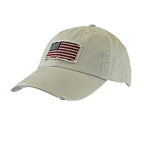Image Unavailable. Image not available for. Color  Khaki Tan Cotton Twill  Hat - Vintage Frayed American Flag Baseball ... 96c4bd5ae57