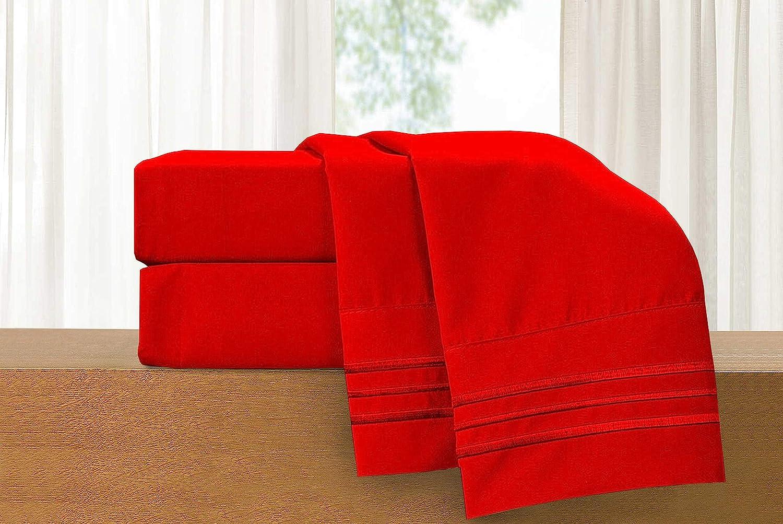 Luxury 4 Piece Red Bed Sheet Set