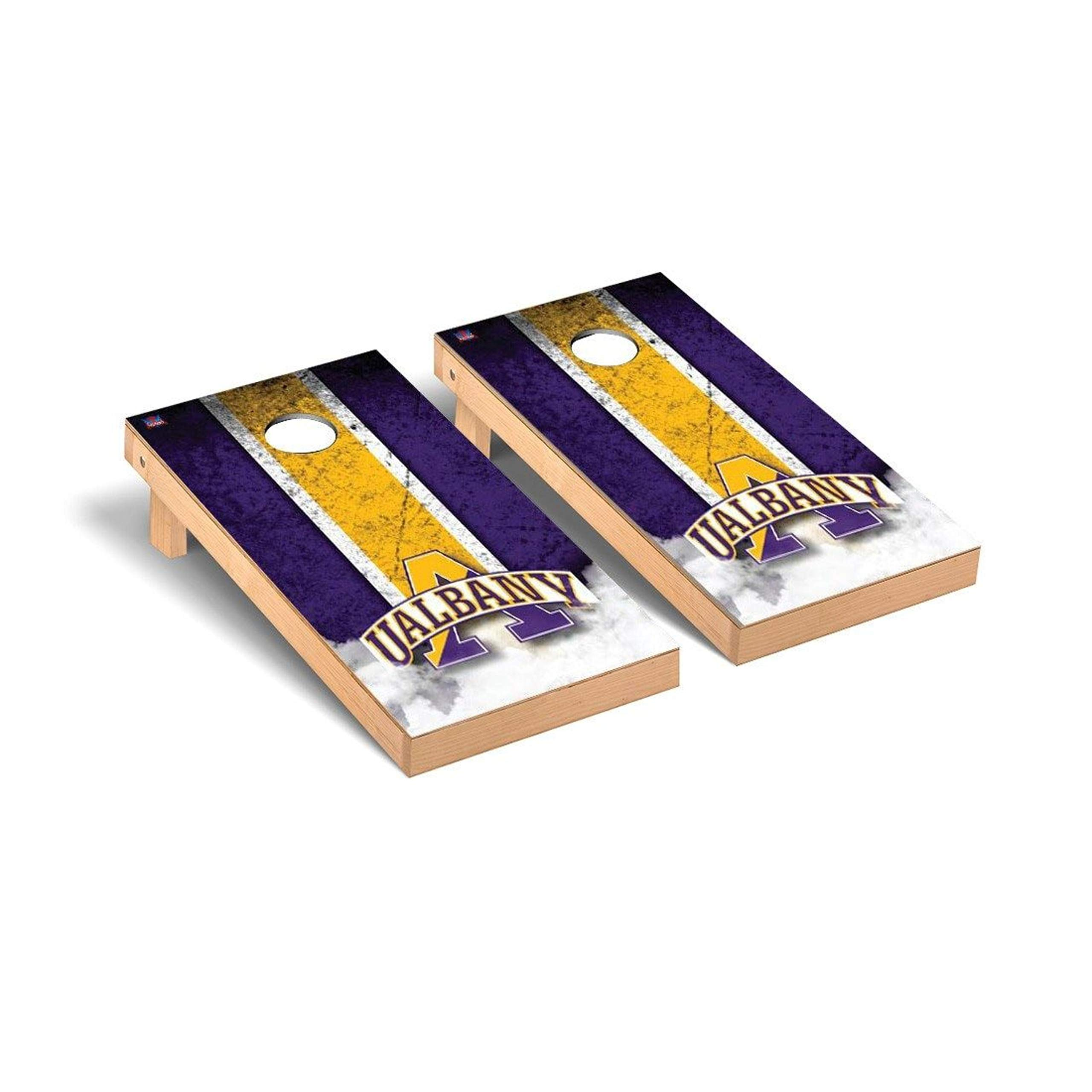Victory Tailgate Regulation Collegiate NCAA Vintage Series Cornhole Board Set - 2 Boards, 8 Bags - Albany Great Danes