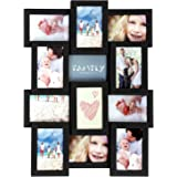 """SONGMICS Picture Frames for 12 Photos in 4"""" x 6"""" Collage Multiple Photos Glass Front Black Wooden Grain URPF26BK"""