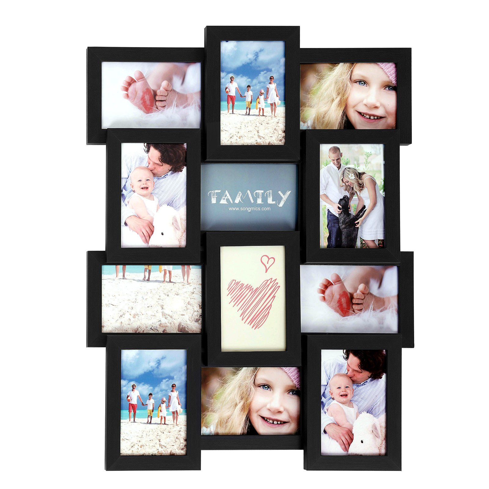 SONGMICS Collage Picture Frames for 12 Photos in 4 x 6 Inches, Assembly Required, Collage Multiple Photos, Glass Front, Wooden Grain, Black URPF26BK by SONGMICS