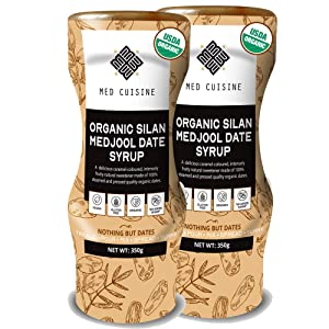 Med Cuisine Usda Organic Silan Dates Syrup 12.35oz - 100% Pure & Natural Sugar-Free Dates Syrup - Vegan, Paleo-Friendly, Non-GMO & Gluten-Free - Squeeze Bottle (2 PACK)