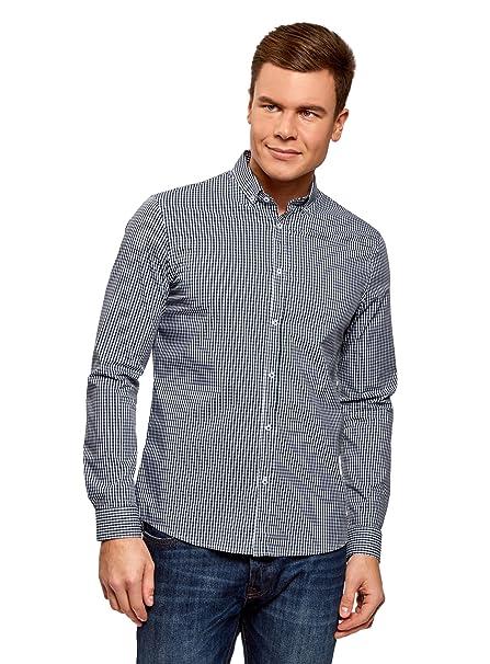 oodji Ultra Hombre Camisa Extra Slim a Cuadros Pequeños IN0tIsy