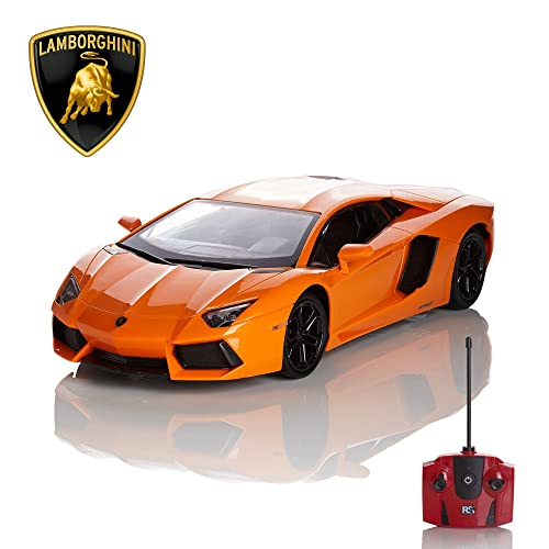 Lamborghini Aventador Official Licensed Remote Control Car for Kids with Working Lights, Radio Controlled On Road RC Car 1:24 Model, 27Mhz Orange, Great Toys for Boys and Girls