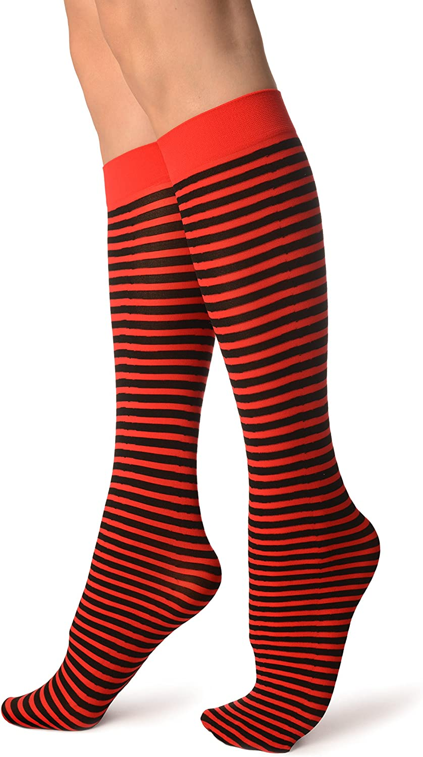 SO002727 Black and Red Thin Stripes Socks Knee High