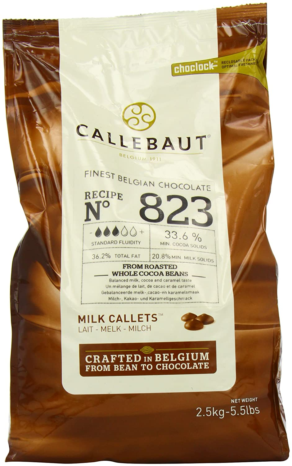 Amazon.com : Belgian Milk Chocolate Baking Callets (Chips) - 33.6 ...
