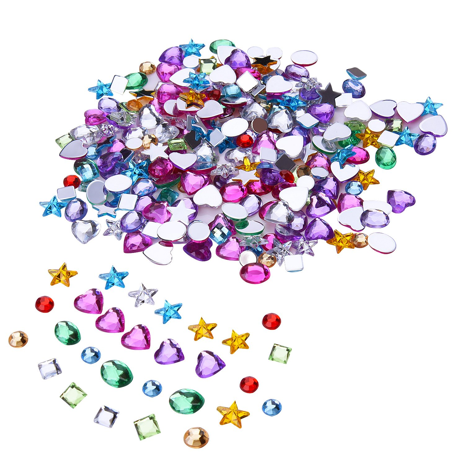 Arts and crafts jewels - Outus 500 Pieces 5 To 8 Mm Acrylic Craft Jewels Gems Gemstone Embellishments Assorted Colors