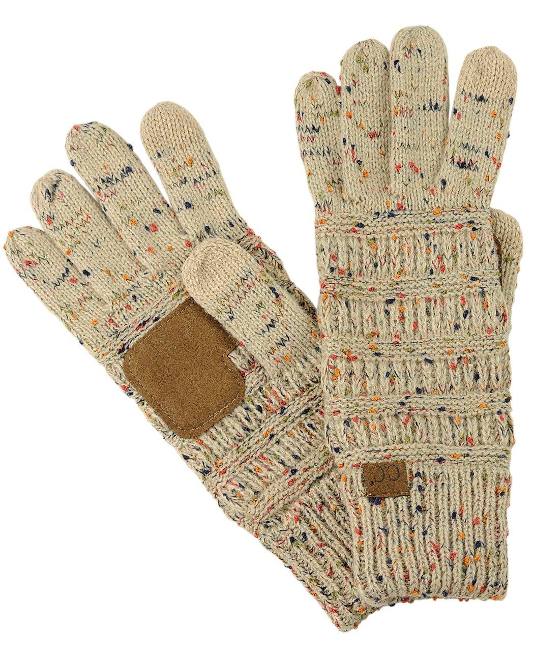 C.C Unisex Cable Knit Winter Warm Anti-Slip Touchscreen Texting Gloves, Confetti Latte