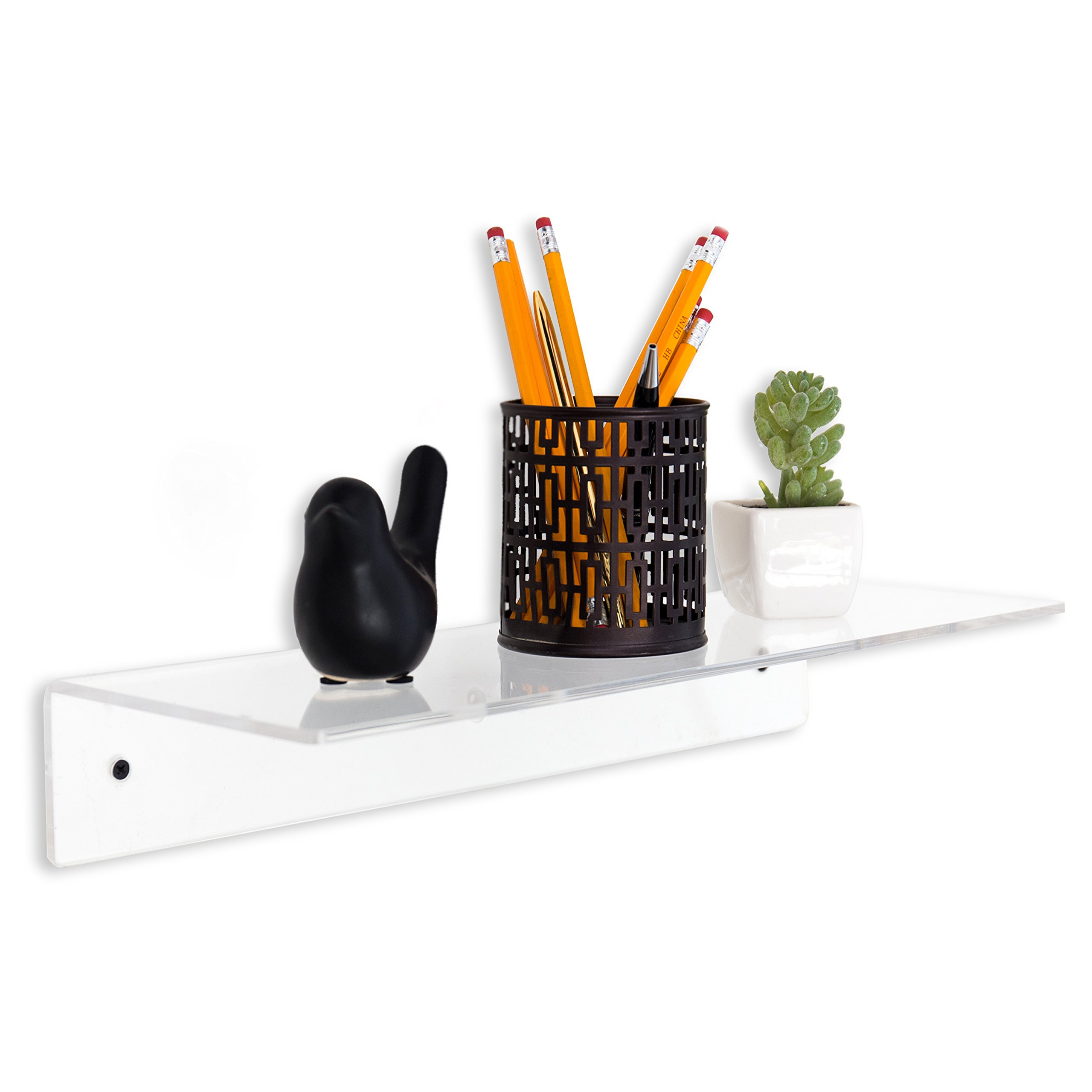 MyGift 17 Inch Contemporary Clear Acrylic Floating Shelf/Wall Mounted Display Organizer