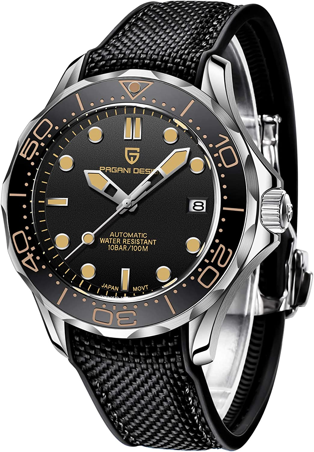 Pagani Design 007 Seamaster Automatic Diving Watches for Men Stainless Steel Band,...