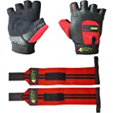 Weight Lifting Gloves (1 Pair) And Weightlifting Wrist Wraps (1 Pair) - 2 in 1 Package For Men & Women Cross Training Fitness Exercise Grip Glove For Gym, Powerlifting & Workout (Pack of 4)