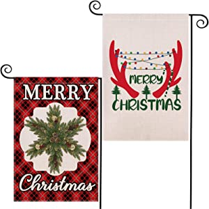 LARMOY 2PACK Christmas Reindeer Garden Flag Merry Christmas Coniferous Wreath Yard Decor Red Buffalo Plaid 12.5 x 18 Inch Double Sided Flags Holiday Christmas Decorations Xmas Signs Farmhouse Patio