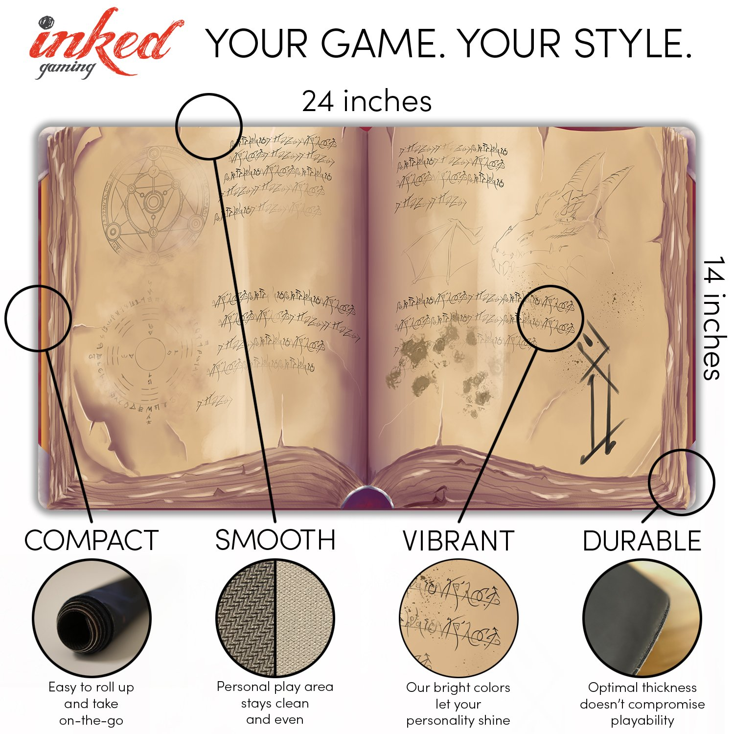 Inked Playmats Spellbook Card Playmat Inked Gaming Perfect for MTG Pokemon Hearthstone & YuGiOh Magic The Gathering TCG Game Mat by Inked Playmats (Image #3)