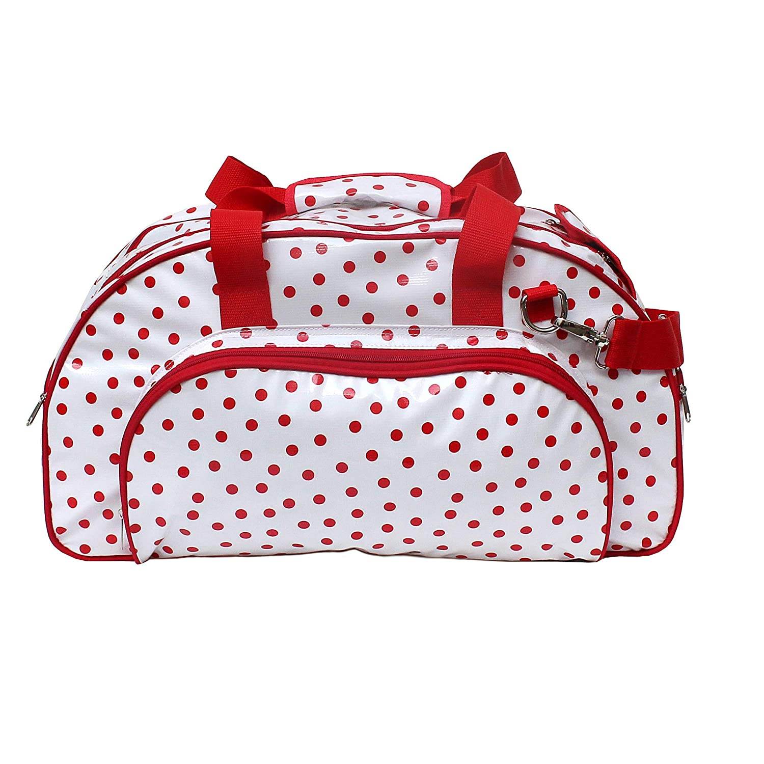 IKURI Weekender Bag For Woman Waterproof Duffel Bag for Ladies Overnight Water-Resistant Travel Bag Handmade Compact Tote Bag Carry-On Design Lunares red-white