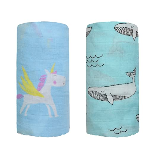 5ddfd9dc7 Amazon.com: Bamboo Muslin Swaddle Square Blankets - 2 Pack 47'x47' Horse & Whale  Print Baby Receiving Blanket Wrap for Girl Shower Gift by Qav Juh (Horse ...