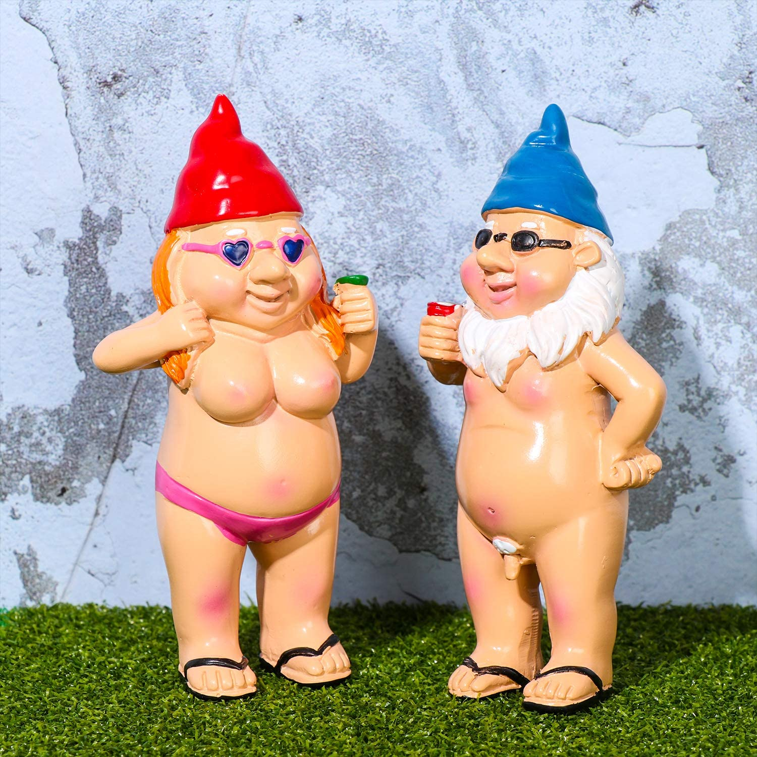 Garden Gnome Statue,Peeing Naked Goblin Gnome for Lawn Ornaments Indoor Outdoor Garden Crafts Decorations, Height: 5.1inch(Man and Woman)