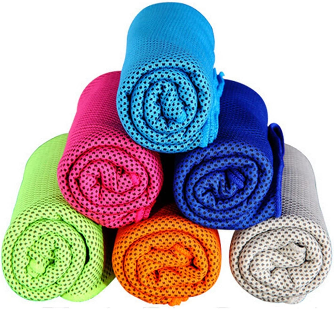 "MJ Fashion Cooling Towel for Instant Relief - 40"" 12"" - for Sports, Workout, Fitness, Gym, Yoga, Pilates, Travel, Camping & More (Green)"