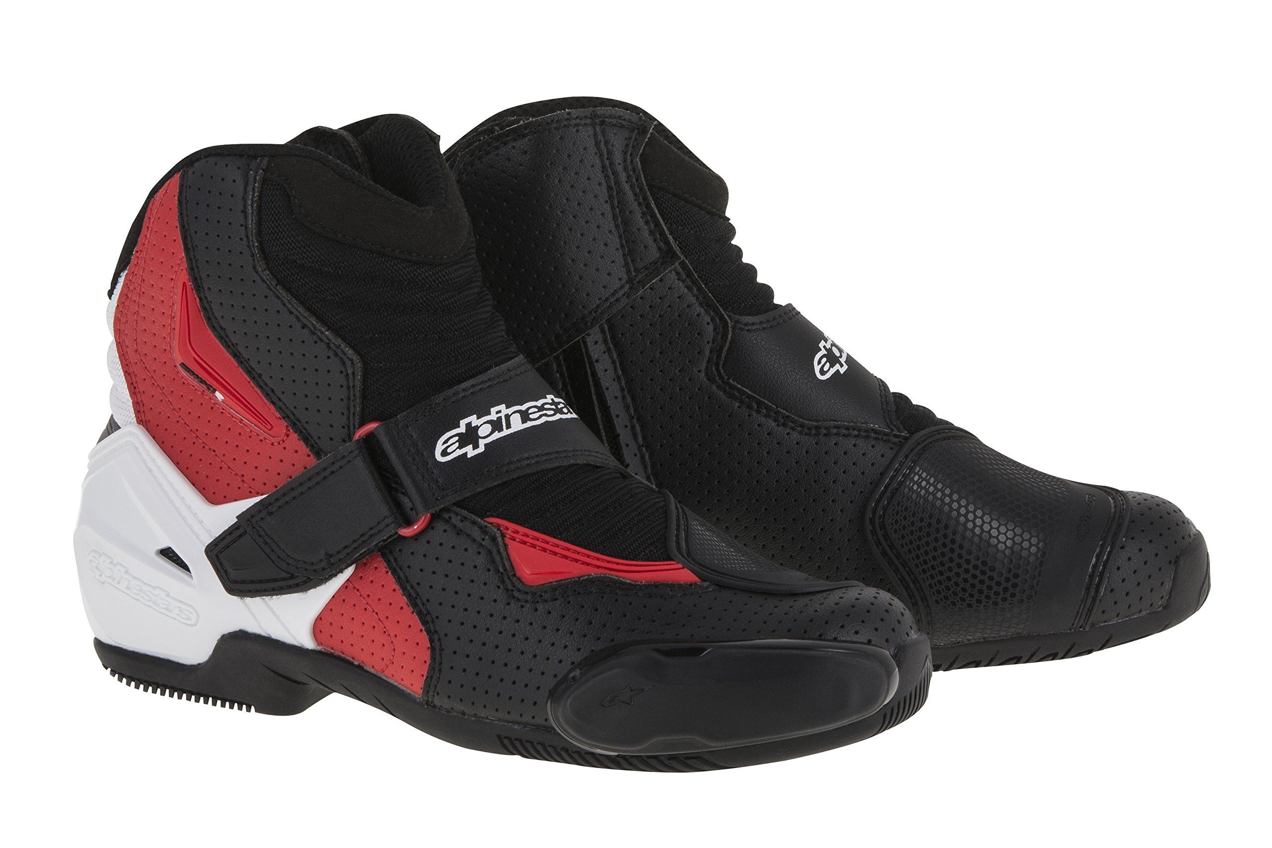 Alpinestars SMX-1 R Vented Boots (45) (Black/White/Red) by Alpinestars