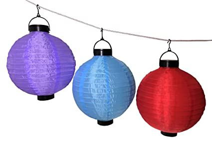 Where To Buy Chinese Lanterns With Lights   Purple Blue Red Set Of 3 With  Solar