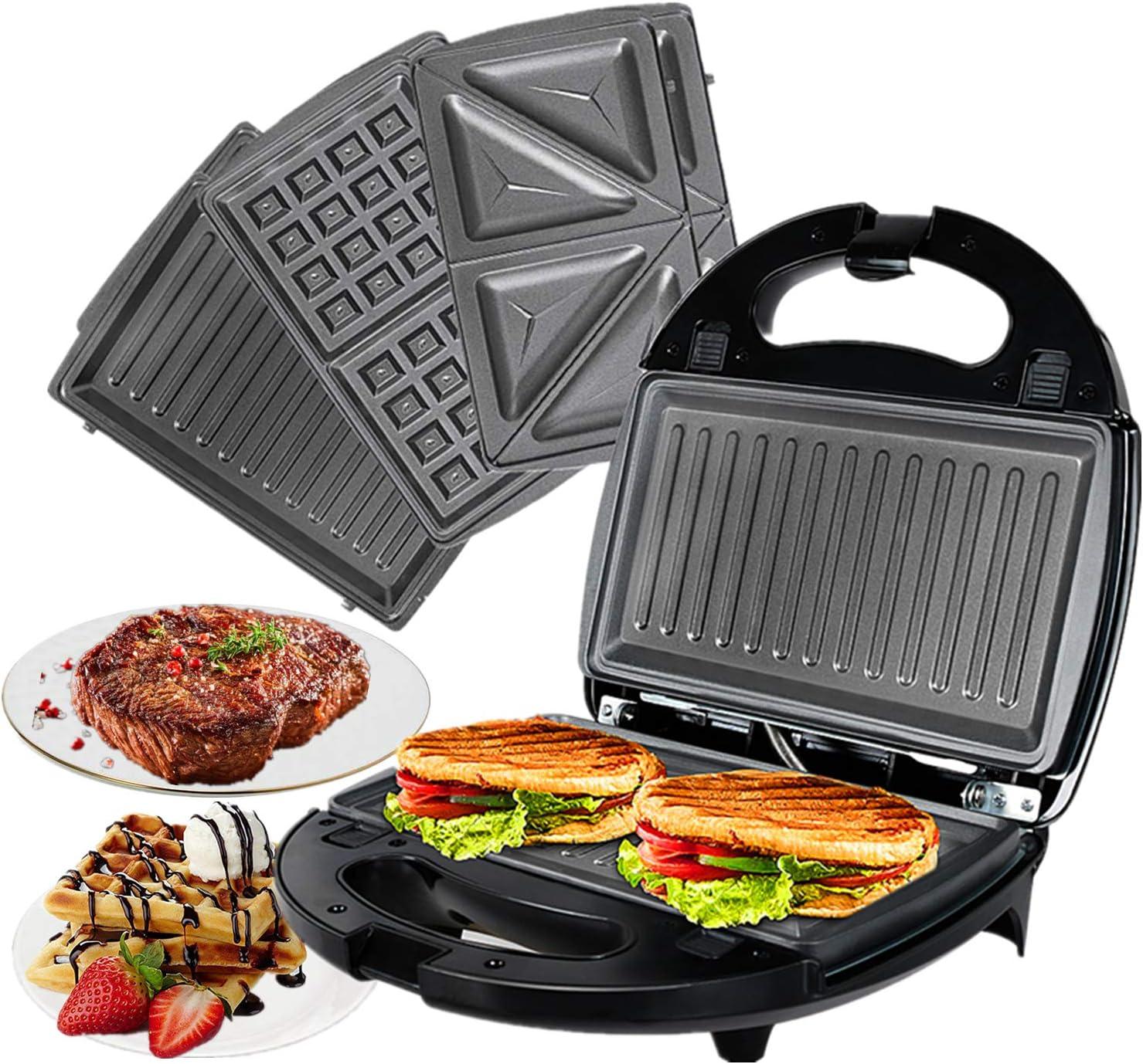 OZAVO 3 en 1 Sandwich Grill, Sandwitch Toaster, Croque Gaufre, Appareil à Croque monsieur en Acier Inoxydable, 750W, Noir