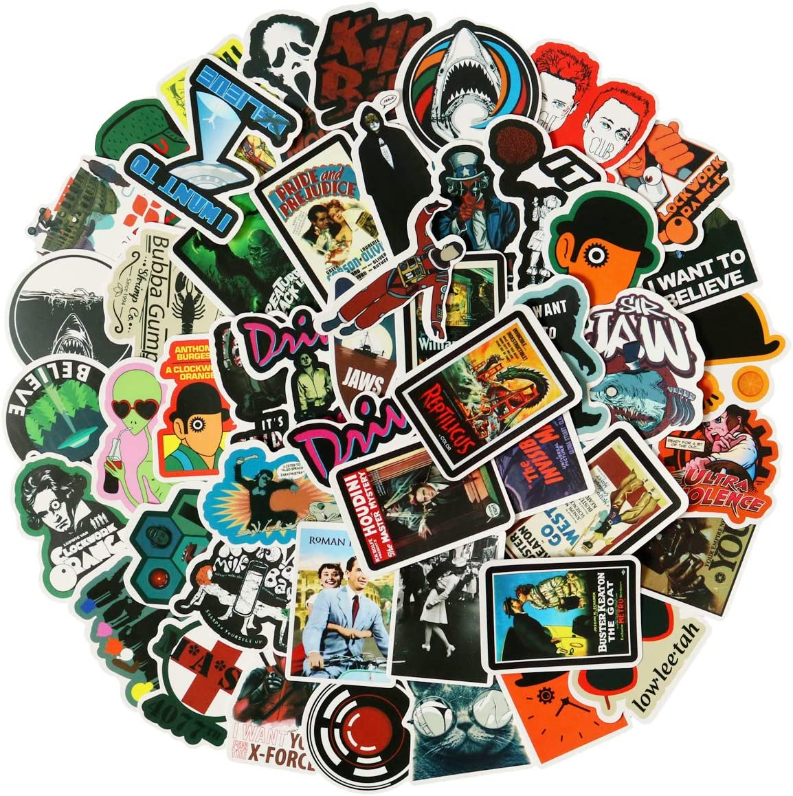 Classic American Movies Sticker Pack of 50 Stickers - Film Stickers for Laptop, Funny Stickers for Laptops, Computers, Hydro Flasks, Water Bottles (Classic Movies)