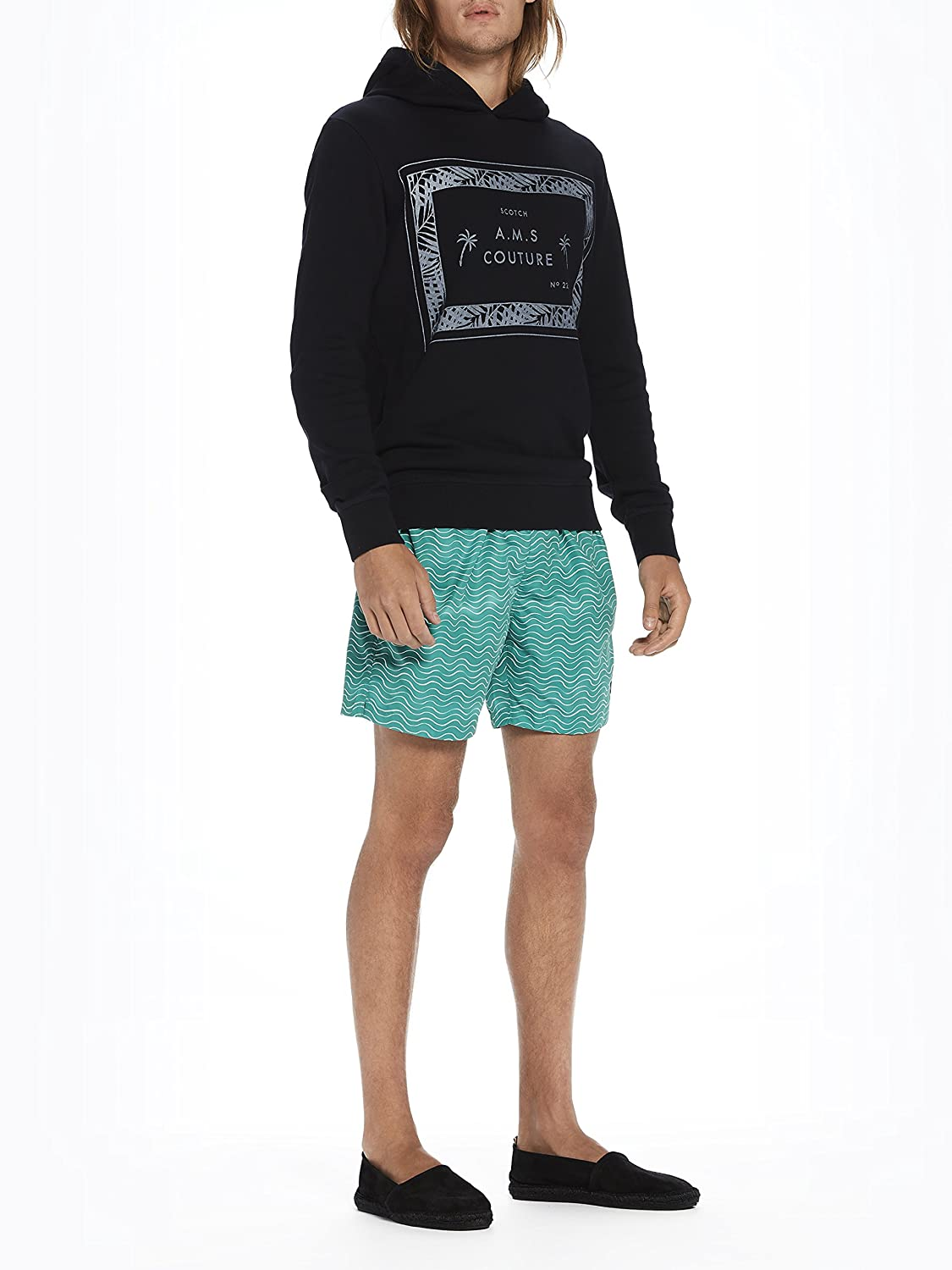 Scotch /& Soda Mens Classic Swim Shorts with Fresh Two-Tone All Over Pattern