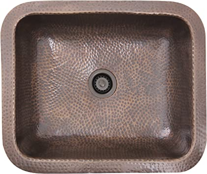 Nantucket Sinks Rehc 2 Hammered Rectangle Bar Sink With Victorian Bronze Drain Copper Single Bowl Sinks Amazon Com