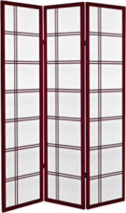 Oriental Furniture 6 ft. Tall Canvas Double Cross Room Divider - Rosewood - 3 Panels