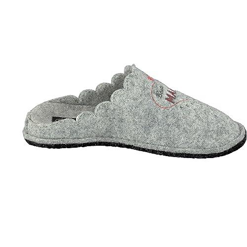 Supersoft Damen Hausschuhe Pantoffeln Herz Beste Mama 522 220 in Grau (39 EU) xJEBghg