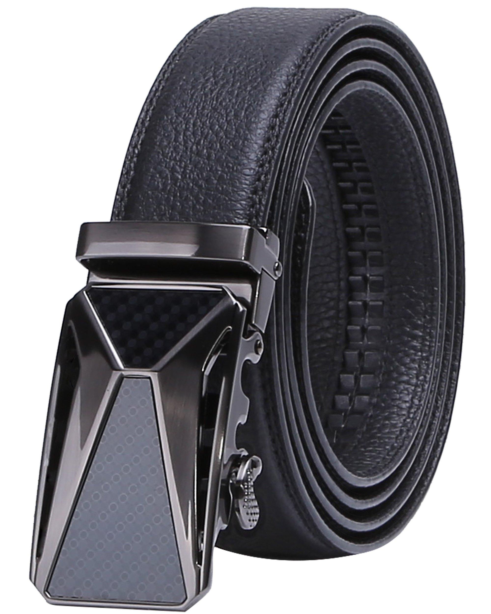 Men's Leather Belt, Black Ratchet Dress Slide Belt with Automatic Buckle 35mm