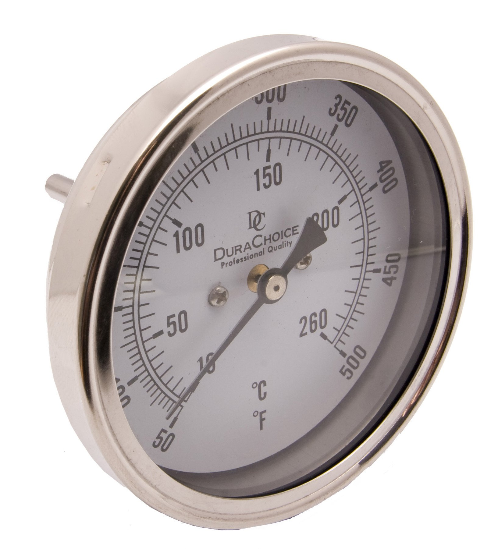 Industrial Bimetal Thermometer 5'' Face x 2-1/2'' Stem, 50-500 w/Calibration Dial