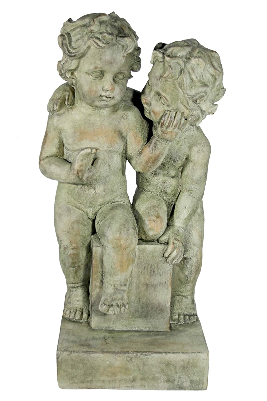 Jänig 10913 Figure Kinderpaar auf Podest, Höhe 61 cm, antikgrün