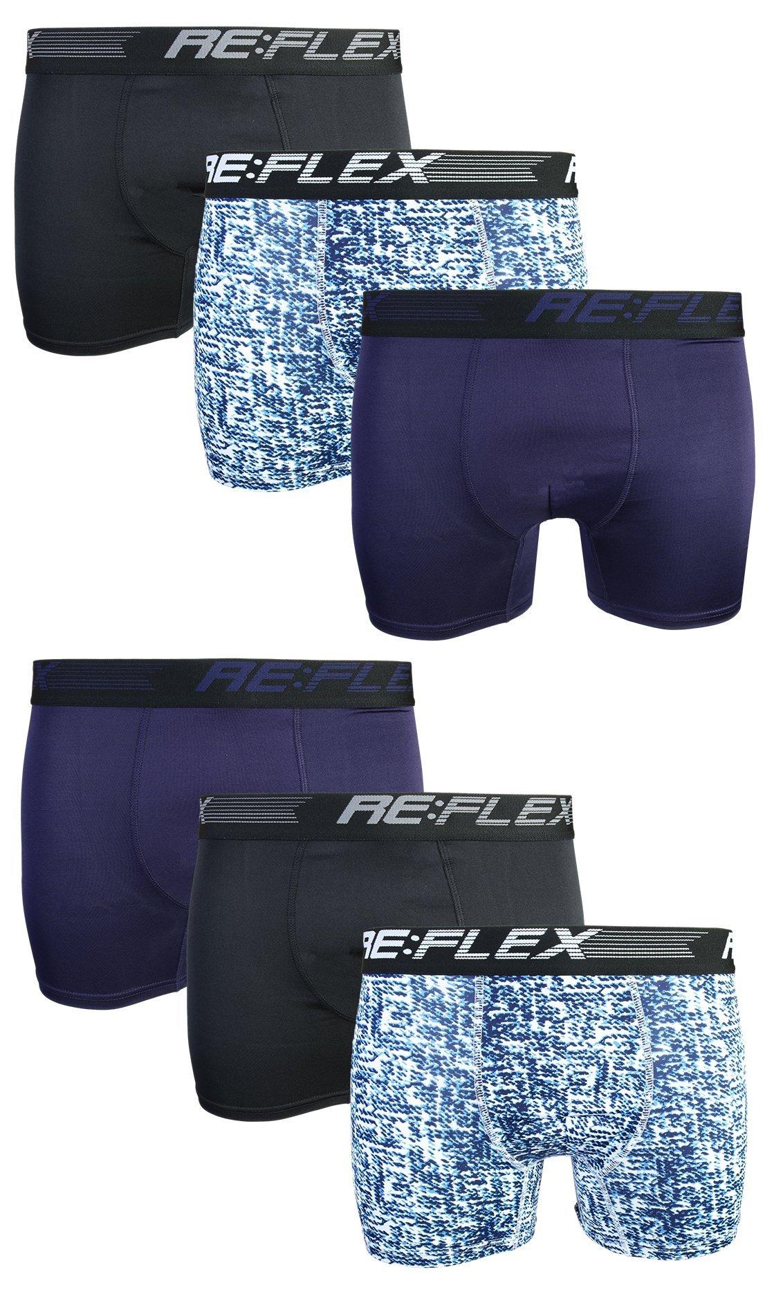 Re:Flex Men's Active Performance Boxer Briefs Underwear (6 Pack) (Large, Black/Blue Pattern)'