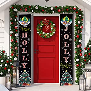 Christmas Banner Decoration Holly Jolly Christmas Quotes Porch Sign Hanging Xmas Decorations for Home Wall Indoor Outdoor Holiday Party Decor